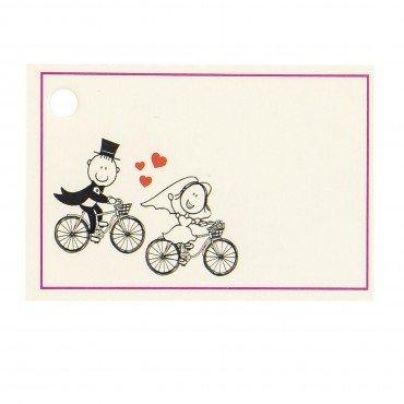 Tarjetas personalizadas novios en bicicleta