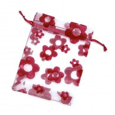 Bolsas de Organza Flores Roja 20 x 16